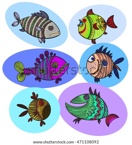 six fish doodle colored drawing vector