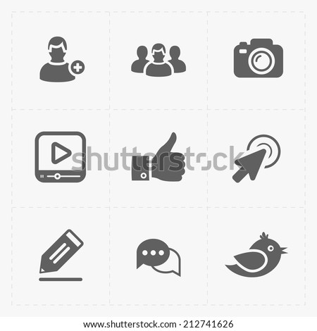 Six Flat social icons set on White - stock vector