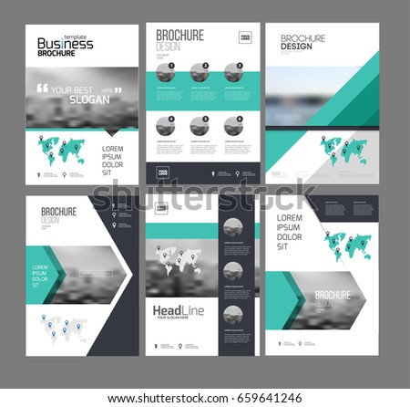 Six Flyer Marketing Templates With Photo, Text And Map. Sale Brochure  Layout Vector Set
