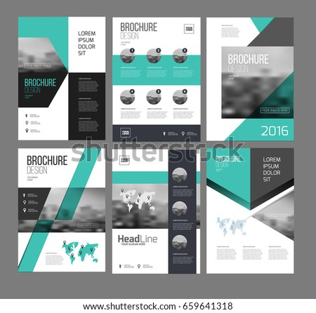 Six Flyer Marketing Templates Photo Text Stock Vector - Sales brochure template