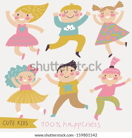 Six funny kids in cartoon style. Bright childish set in vector. Cute kids jumping and having fun - stock vector
