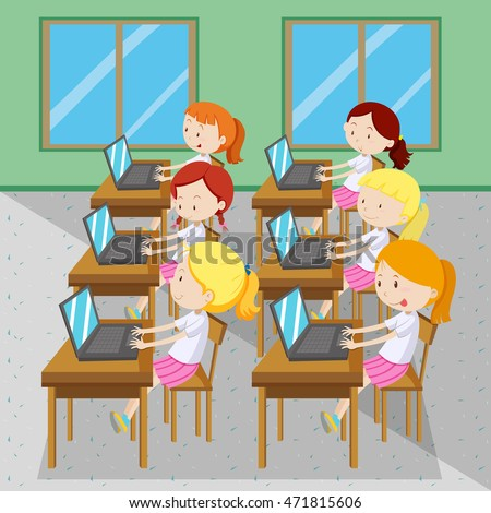 Six girls typing on computers illustration