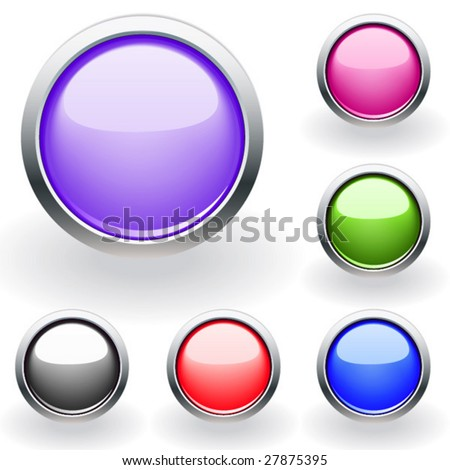 Six glossy buttons in various colors. Vector. For other similar images from the series, please, check my portfolio.