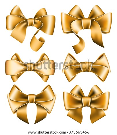 Six gold bows - stock vector