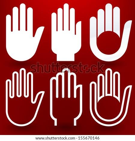 six hands - stock vector