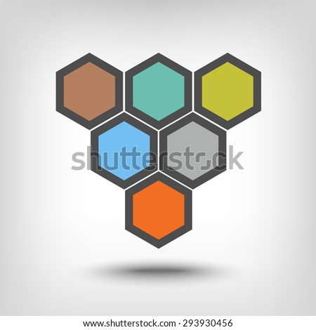 Six hexagons as sequential steps of - stock vector