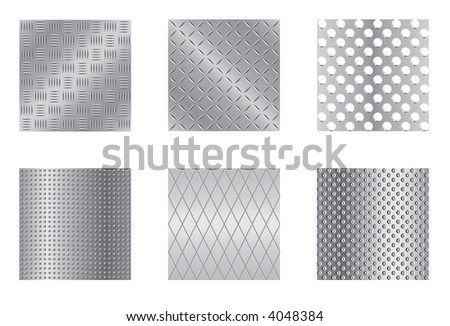 Six metal patterns on different layers (VECTOR). Easy to change the color (same objects of each pattern are grouped together). - stock vector