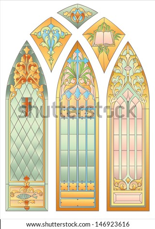 Six mosaic stained glass for decoration of the cathedral