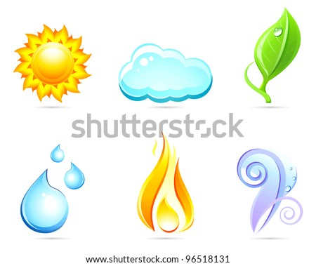 Six nature elements : sun ,cloud,leaf,water,fire,air. Set vector icons.