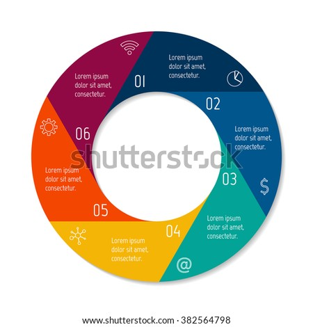 six options isolated infographic banner circular stock vector