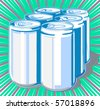 Six-pack cans - stock vector