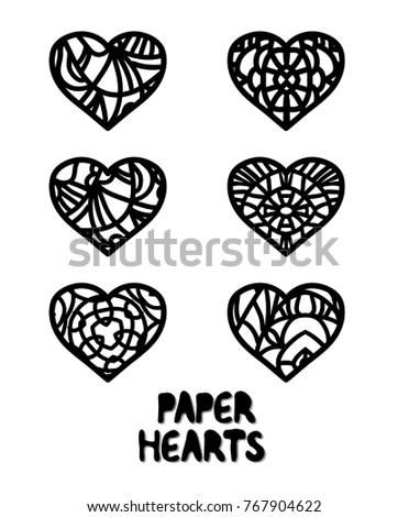 Six Paper Hearts St Day Laser Stock Vector HD (Royalty Free ...