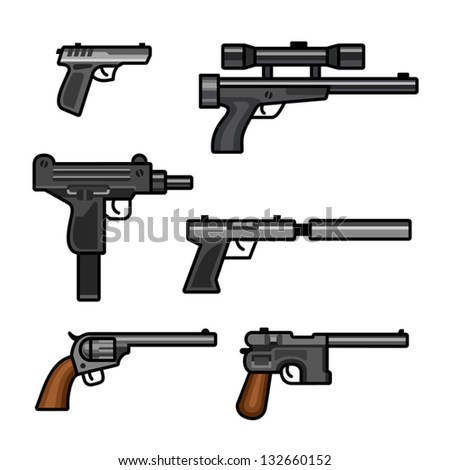 Six pistols isolated on white background. Each handgun on separate layer.