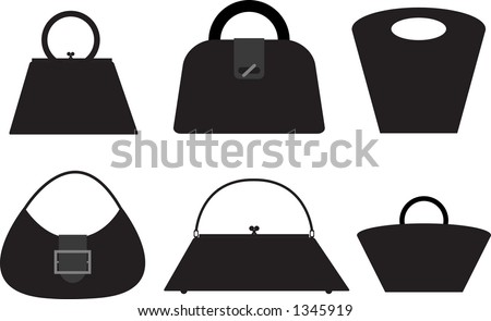 Six purse silhouettes. Fully editable vector- make them your own style! - stock vector