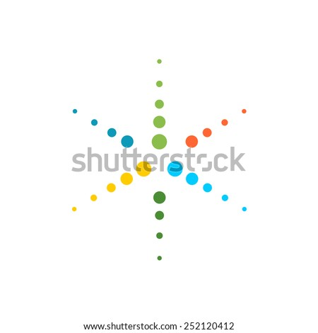 Six rays round particles colorful star logo template - stock vector