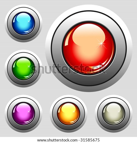 six realistic glossy buttons - vector illustration - stock vector