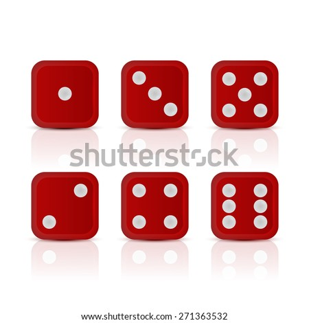 Six red dices for games with all the numbers. Vector EPS10 illustration.  - stock vector