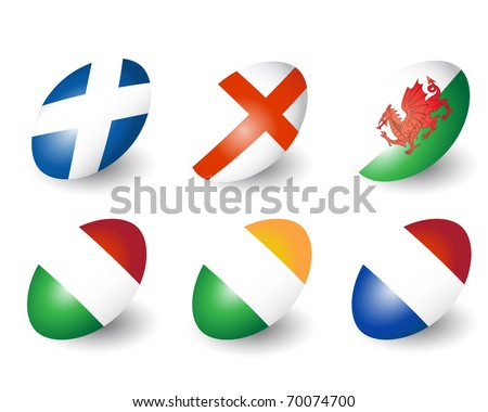 Six rugby balls representing the nations of England, Scotland, Wales, Ireland, France & Italy. EPS10 vector format. - stock vector