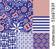 Six seamless tilable repeat patterns in blue, red and white - stock vector