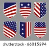 Six shields in american flag style - stock vector