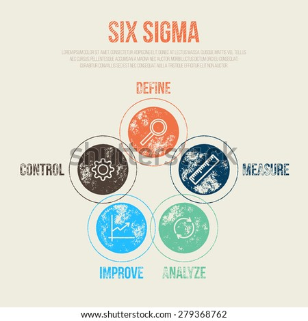 Six Sigma Project Management Diagram Template - Vector Illustration - Infographic Element - stock vector