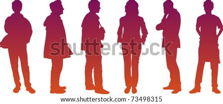 six silhouettes - stock vector