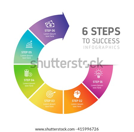 Six steps infographics - can illustrate a strategy, workflow, team work or way to success. - stock vector