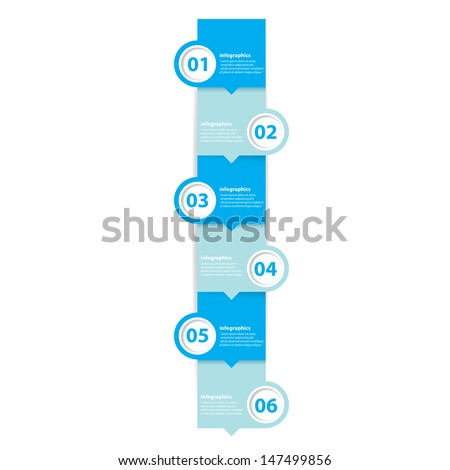 six steps Modern blue progress paper Design template / can be used for infographics / numbered banners / horizontal cutout lines / graphic or website layout vector - stock vector