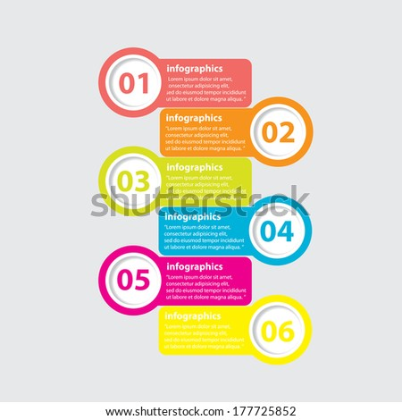six steps Modern Design template / can be used for infographics / numbered banners / horizontal cutout lines / graphic or website layout vector - stock vector