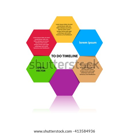 Six steps timeline objects. Hexagon shape with reflection below. Place for text inside elements. Flat design infographic. Vector illustration.