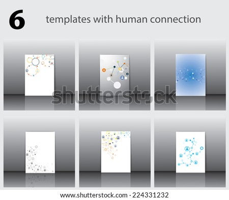 Six templates with human connection-vector illustration - stock vector