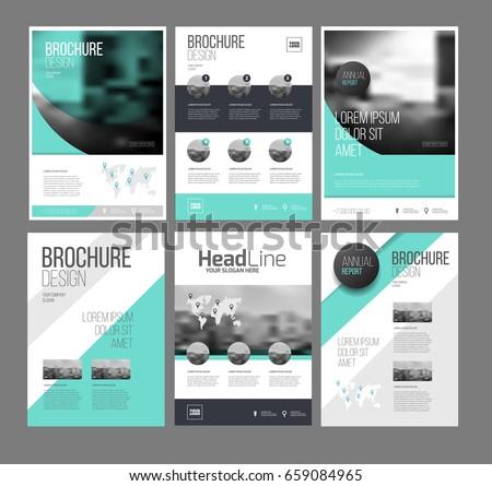 Six Trendy Brochures Templates Photo Text Stock Vector - Brochures templates