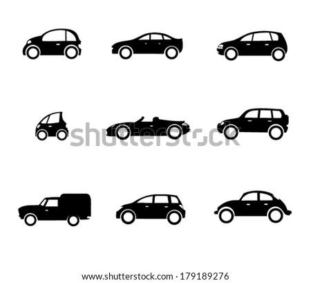 Six vector car shapes - stock vector