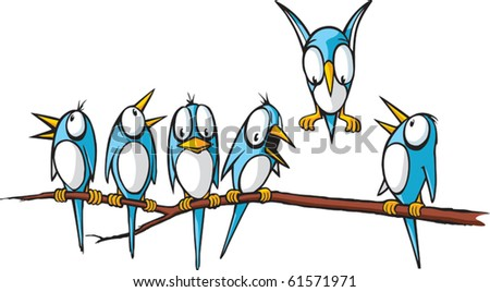 Six vector cartoon Blue Birds perched on a limb.