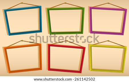 Illustration wooden stick border kids stock vector 98976863 shutterstock - Six pictures photo frame ...