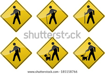 Six yellow diamond-shaped crossing signs showing symbols of various people. - stock vector