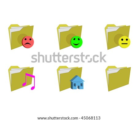 Six yellow folders with the documents for the computer