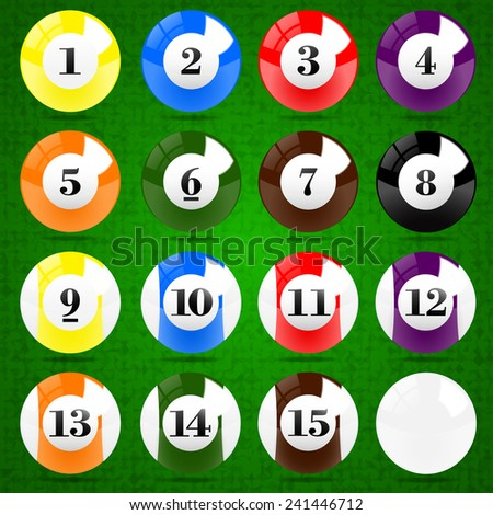Sixteen Billiards balls on the green fabric texture background. (EPS10 Art vector separate part by part))