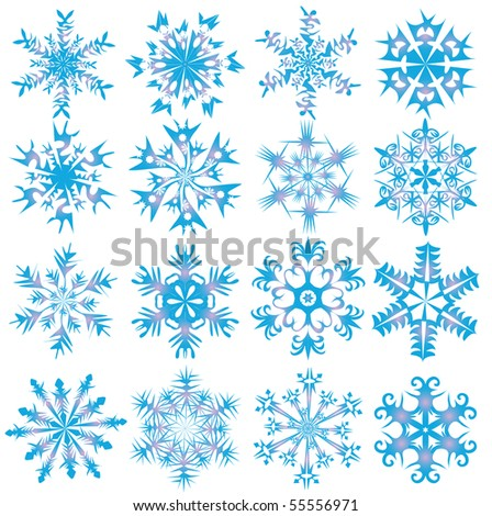 Sixteen blue snowflakes. Vector illustration. - stock vector