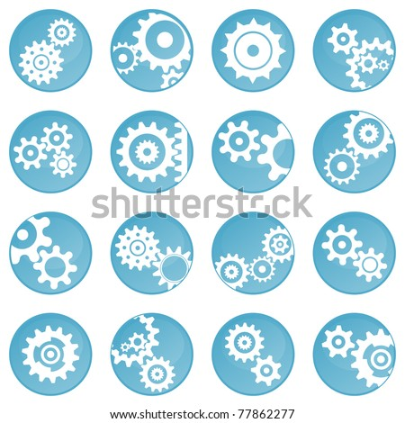 Sixteen blue wheel icons (buttons) - stock vector