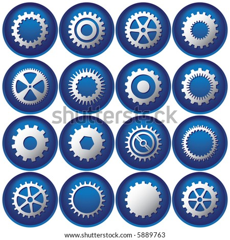 Sixteen Cog Buttons/Icons - stock vector