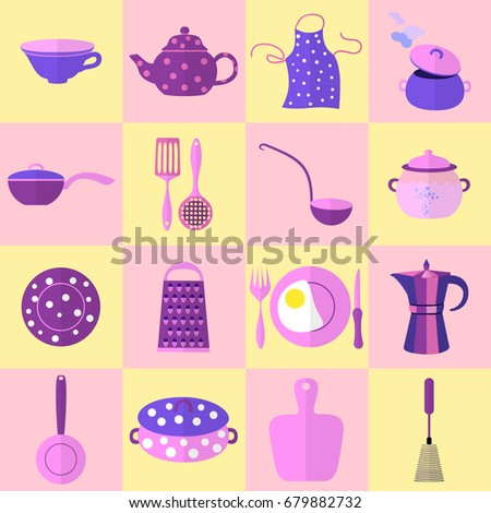 Sixteen Kitchen Tools And Utensils In Set, Each Placed On Cage. Vector  Illustration Made