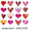 sixteen lovely  heart, vector illustration - stock vector