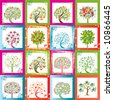 Sixteen original vector trees with frames background - stock vector