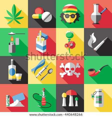Sixteen square flat drugs icon set with different types of drug dependence alcohol and smoking vector illustration