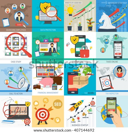Sixteen square vector business concept. Startup mobile data safe and financial. Tax, delivery and call to action in flat style - stock vector