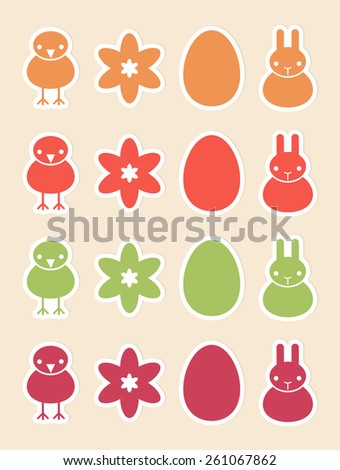 Sixteen stickers with Easter and spring symbols, vector icons, flat style - stock vector