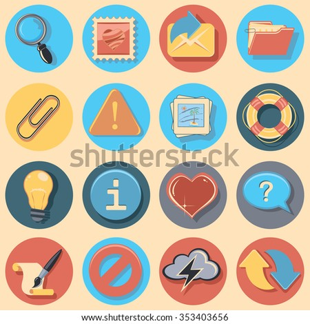sixteen universal web icons - stock vector