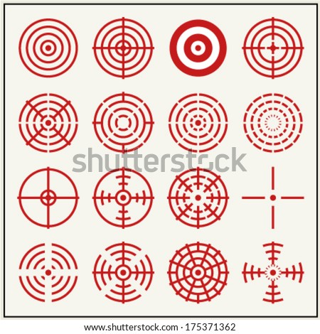 Sixteen vector crosshairs and bullseyes - stock vector