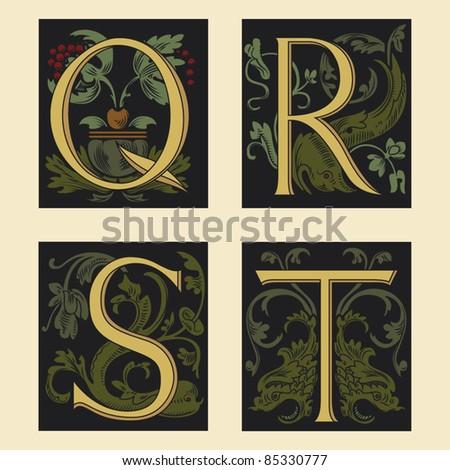 Sixteenth-Century alphabet Q R S T in editable vector file - stock vector